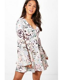 Steph Floral Plunge Flute Sleeve Skater Dress afbeelding