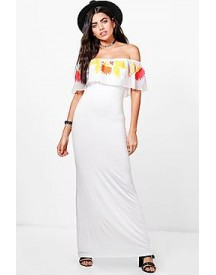 Talia Embroidered Mesh Frill Maxi Dress afbeelding