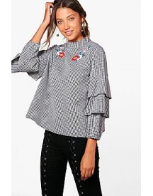Tall Amiee Gingham Frill Sleeve Blouse afbeelding