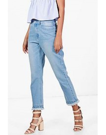 Tall Bethany Gathered Distressed Hem Jeans afbeelding