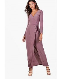 Tall Cleo Wrap Front Slinky Maxi Dress afbeelding