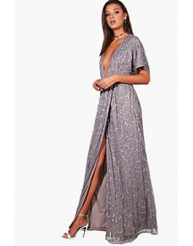 Tall Silva Plunge Wrap Front Sequin Maxi Dress afbeelding