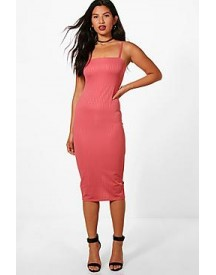 Tansy Textured Wasffle Strappy Midi Dress afbeelding