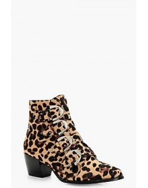 Tilly Leopard Stud Detail Ankle Boot afbeelding