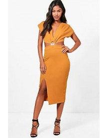 Victoria Plunge Ring Detail Fitted Midi Dress afbeelding