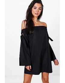Whitney Tie Sleeve Shift Dress afbeelding