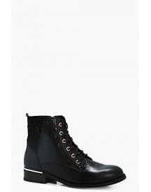 Zoe Diamante Trim Lace Up Ankle Boot afbeelding