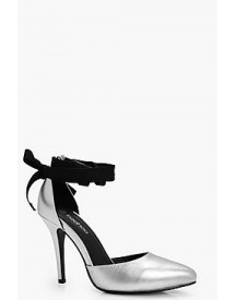 Zoe Ribbon Tie Pointed Court Heels afbeelding