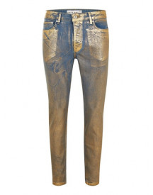 Gold Coated Stretch Skinny Jeans afbeelding