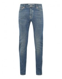 Light Wash Side Taping Stretch Skinny Jeans afbeelding