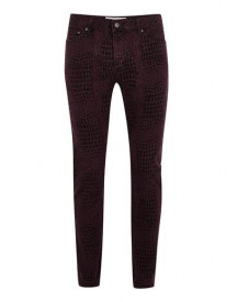 Purple Printed Stretch Skinny Jeans afbeelding