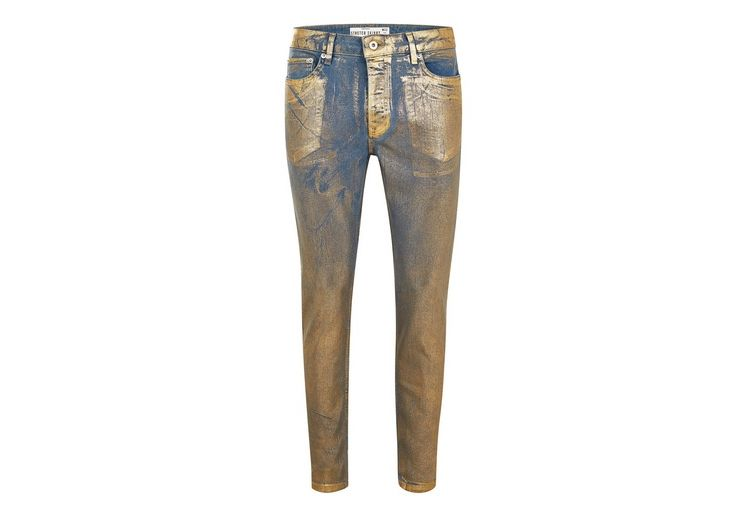 Image Gold Coated Stretch Skinny Jeans