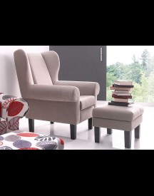 Atlantic Home Collection Oorfauteuil Met Hocker afbeelding