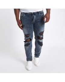 Big And Tall - Sid - Blauwe Ripped Skinny Jeans afbeelding