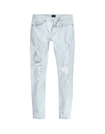Ollie - Lichtblauwe Ripped Spray-on Skinny Jeans afbeelding
