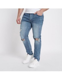 Ri Big And Tall - Middenblauwe Ripped Skinny Jeans afbeelding