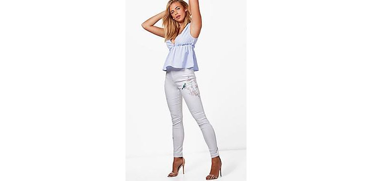 Image Lara High Rise Embroidered Tube Jeans