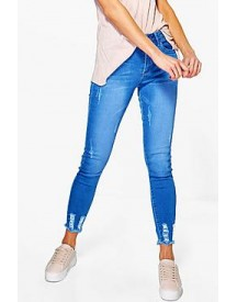 Abby High Waist Destroyed Hem Skinny Jeans afbeelding