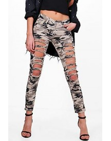 Amelia All Over Distress Camo Skinny Jeans afbeelding