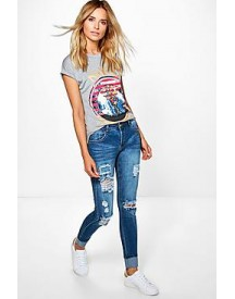 Hannah Mid Rise Light Ripped Skinny Jeans afbeelding