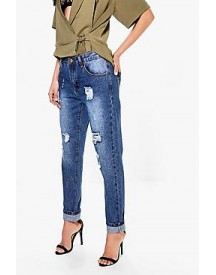 Hatty High Rise Distressed Boyfriend Jeans afbeelding