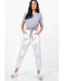Jess Low Rise Distressed Mom Jeans afbeelding