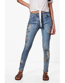 Jessie All Over Embroidery Skinny Jeans afbeelding