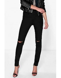 Lara High Waisted Knee Rip Jeans afbeelding