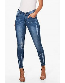 Petite Julie Distressed Paint Skinny Jeans afbeelding