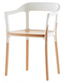 Magis - Steelwood Chair - Naturel - Wit afbeelding