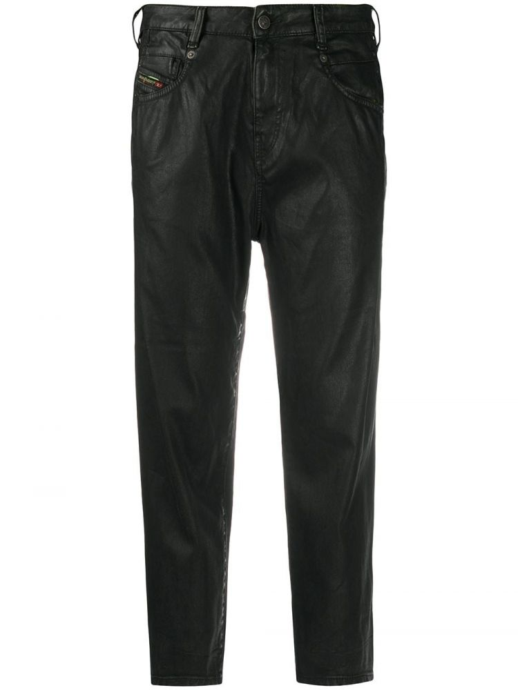 Image Diesel High-rise Cropped Coated Jeans - Zwart