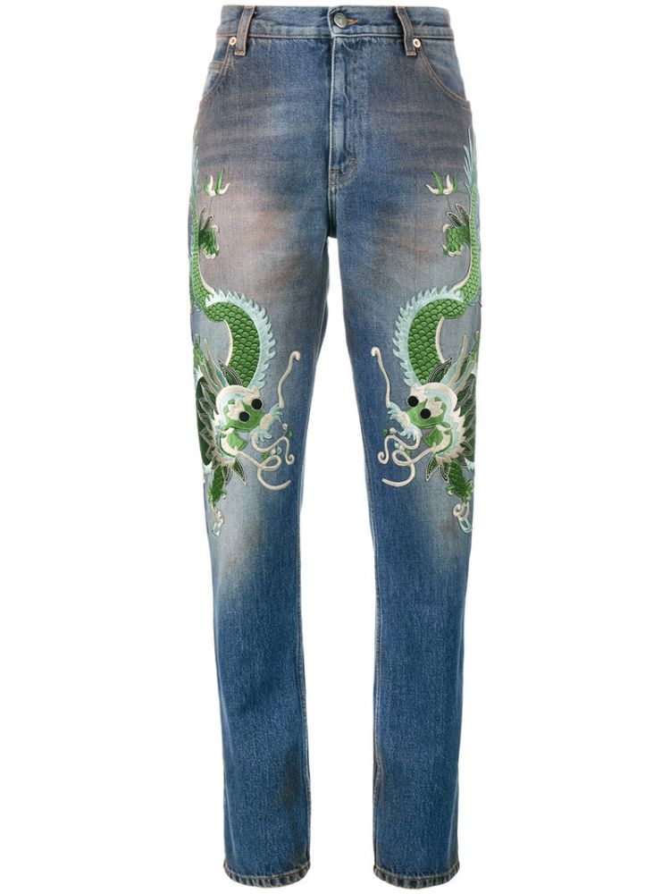 Image Gucci - Embroidered Dragon Jeans - Women - Silk/cotton/calf Leather/viscose - 31