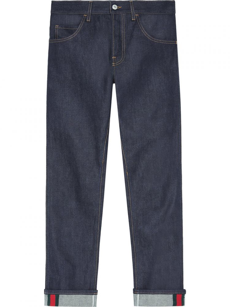 Image Gucci - Tapered Denim Pants With Web - Men - Cotton/spandex/elastane - 35