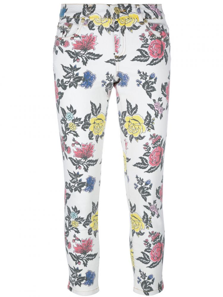 Image House Of Holland - Roses Print Skinny Jeans - Women - Cotton/spandex/elastane - 12