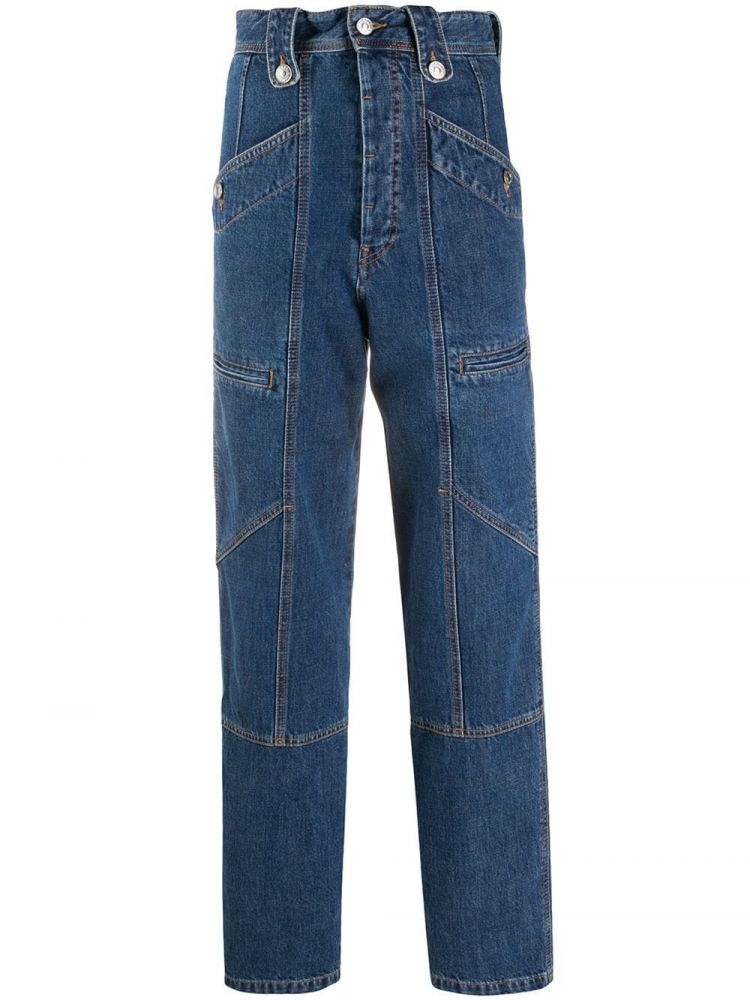 Image Isabel Marant Étoile High-waisted Denim Trousers - Blauw