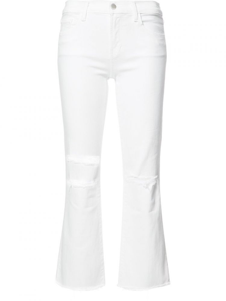 Image J Brand - Ripped Detail Cropped Jeans - Women - Cotton/polyester/spandex/elastane - 28