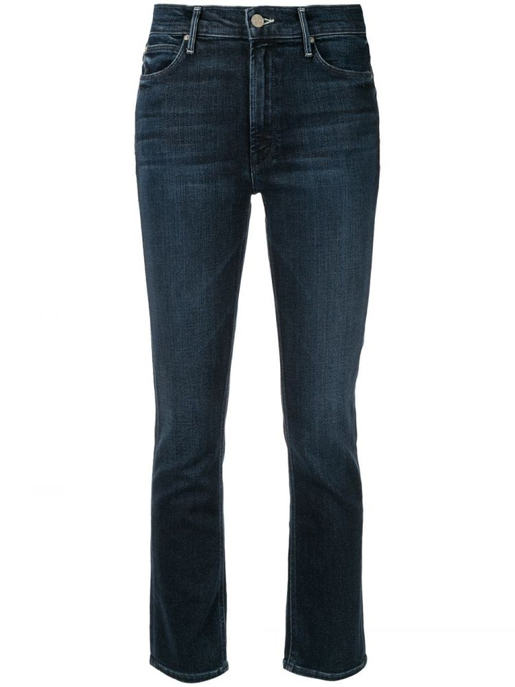 Image Mother The Midrise Dazzler Cropped Jeans - Blauw