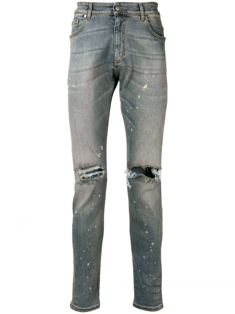 Image Represent Slash Knee Slim-fit Jeans - Blauw