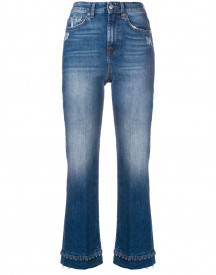 7 For All Mankind Beaded Hem Cropped Jeans - Blauw afbeelding