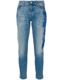 7 For All Mankind - Embroidered Slim-fit Jeans - Women - Cotton/spandex/elastane - 29 afbeelding