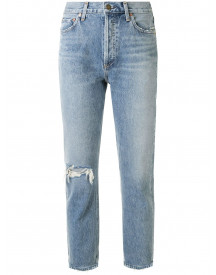 Agolde Riley High-rise Cropped Jeans - Blauw afbeelding