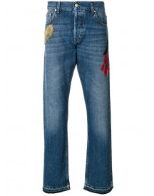 Alexander Mcqueen - Embroidered Straight-leg Jeans - Men - Cotton - 48 afbeelding