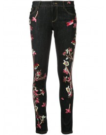 Alice+olivia - Embroidered Slim Fit Skinny Jeans - Women - Cotton/polyester/spandex/elastane - 29 afbeelding