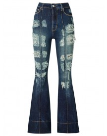 Amapô - Distressed High Waist Flared Jeans - Women - Cotton/elastodiene - 44 afbeelding