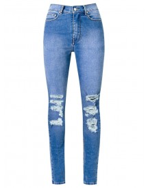 Amapô - Distressed High Waist Skinny Jeans - Women - Cotton/elastodiene - 42 afbeelding