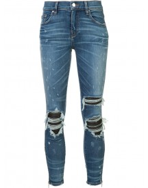 Amiri - Ripped Super Skinny Jeans - Women - Cotton/leather/spandex/elastane - 27 afbeelding