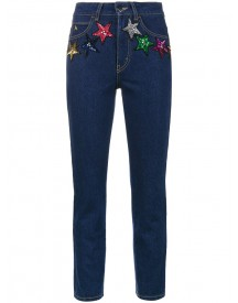 Attico - Sequin Stars High Waisted Cropped Jeans - Women - Cotton/pvc - 1 afbeelding