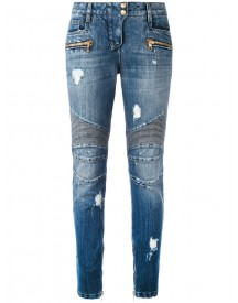 Balmain - Distressed Biker Jeans - Women - Cotton/polyester/viscose - 36 afbeelding