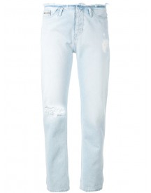 Ck Jeans - Ripped Detail Straight Jeans - Women - Cotton - 27 afbeelding