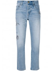 Current/elliott - Embroidered Straight-leg Jeans - Women - Cotton/polyester - 26 afbeelding